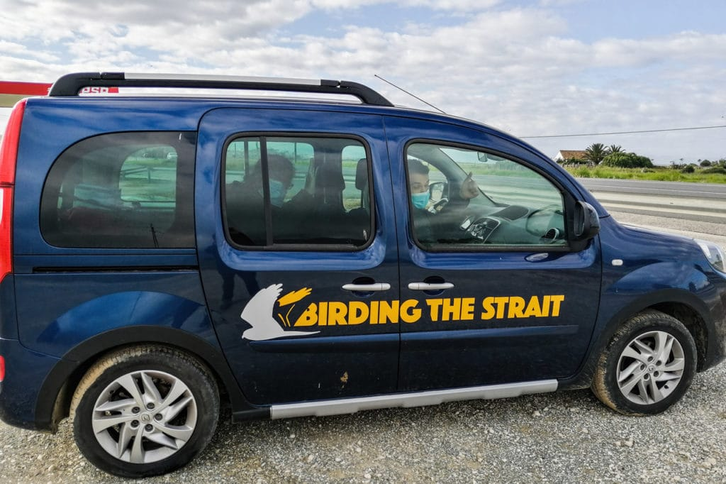 Some of the participants in the Birding The Strait vehicle during the first birding trip of the lockdown lifting